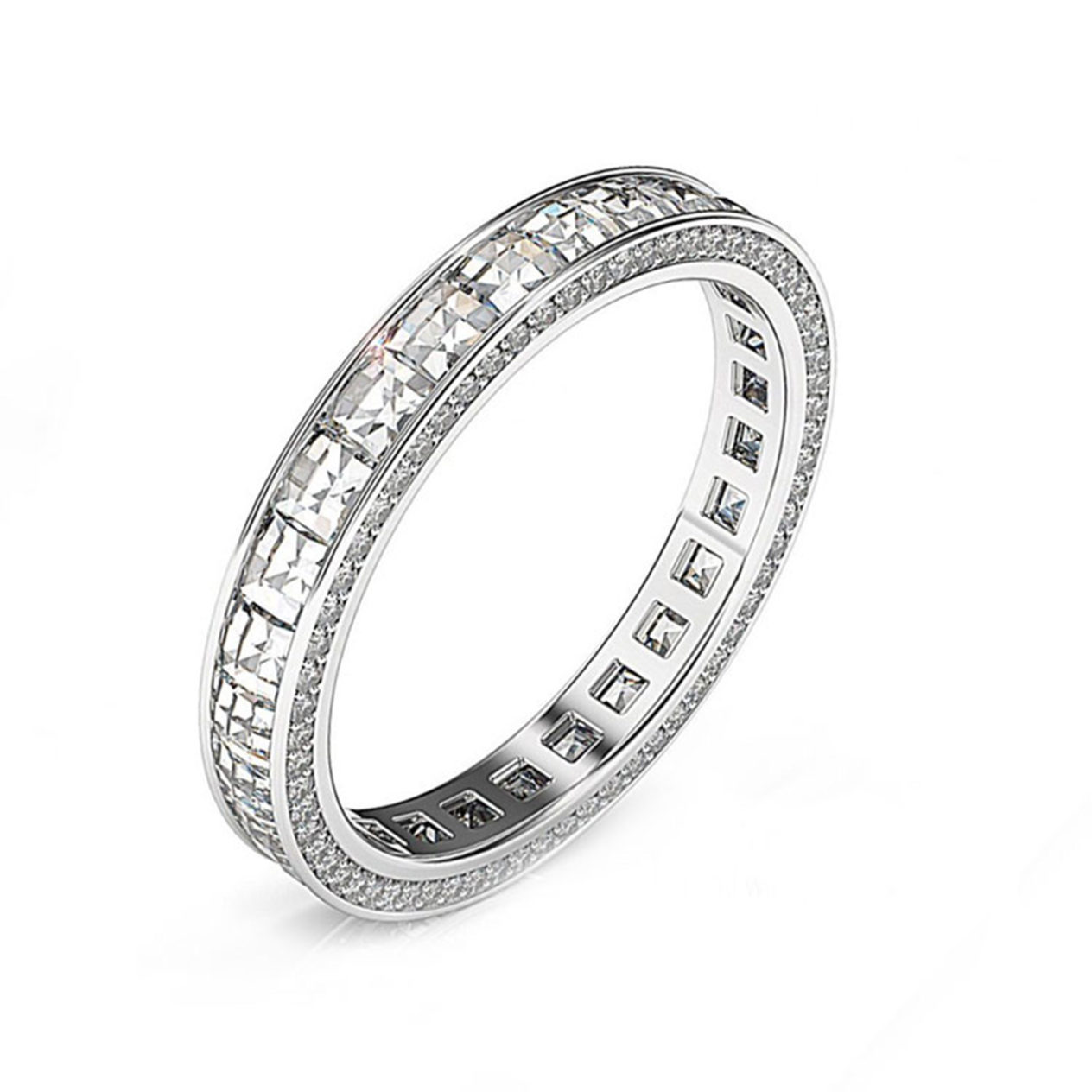 wedding bands for women women wedding band White gold Blaze and Pave wedding Ring