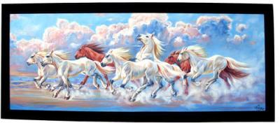 Oil Color Hand Paint Seven Horse Painting, Size: 96
