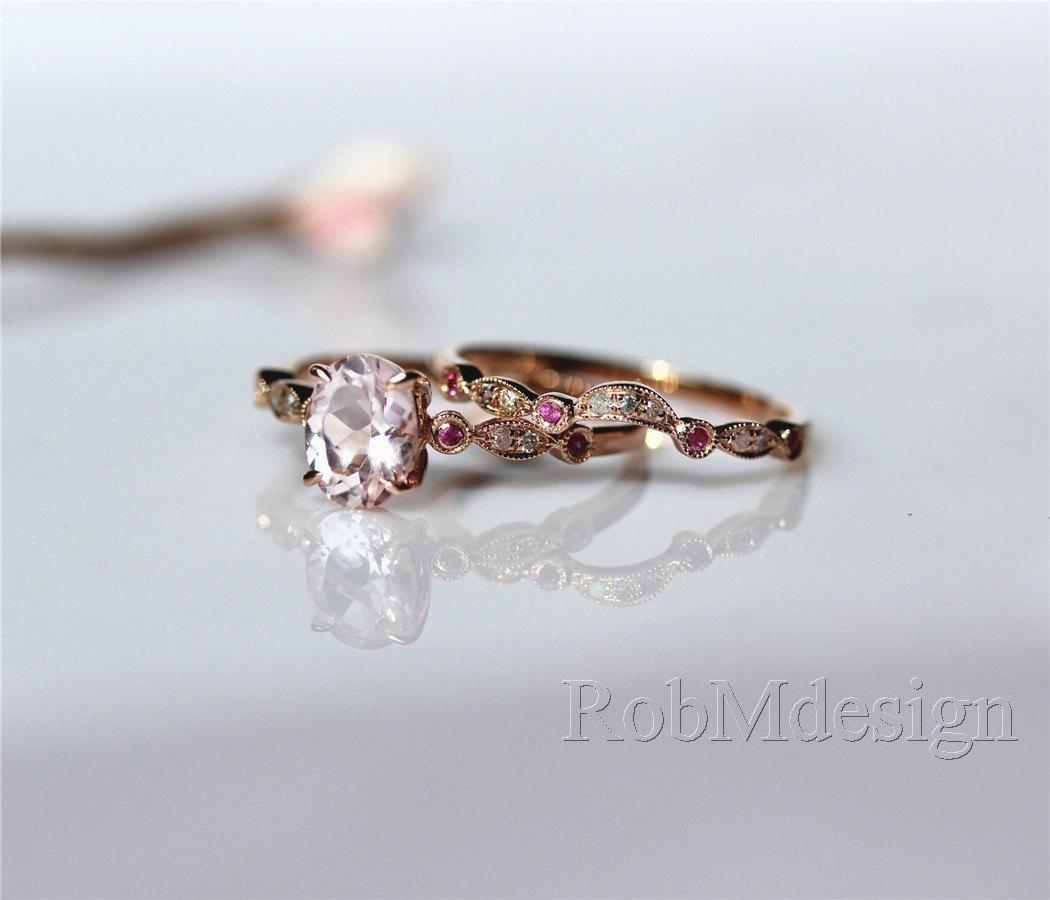 morganite wedding ring set from rob m design morganite wedding ring set