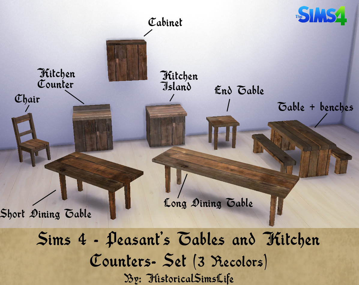 sims 4 medieval peasants table and kitchen kitchen counter table History Lover s Simblr Sims 4 Medieval Peasant s Table and Kitchen