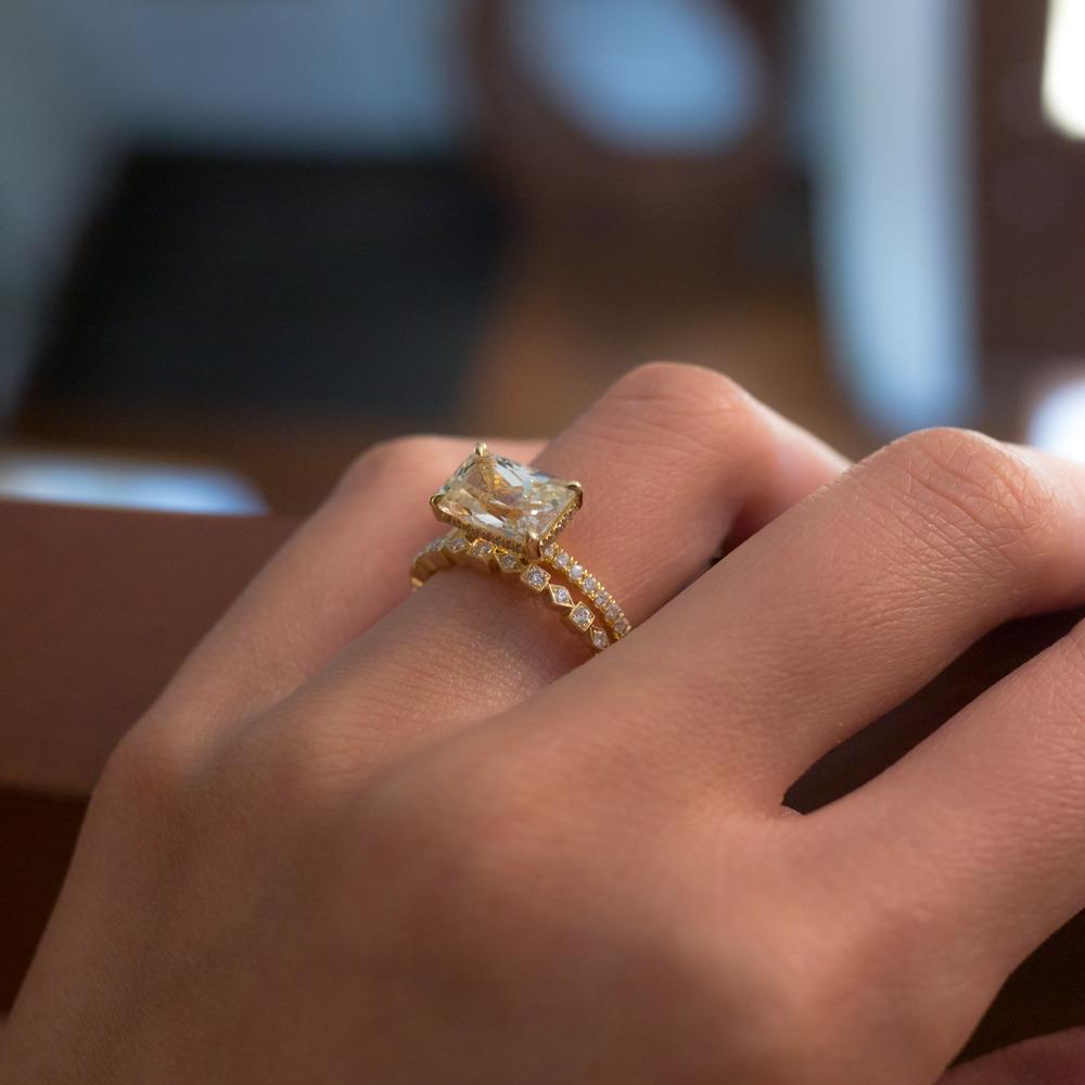 sohogemjewelry tumblr dainty wedding bands sohogem www sohogem com Gorgeous subtle natural yellow sapphire and unique wedding