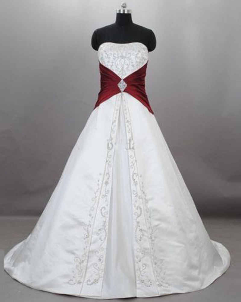 fashion burgundy wedding gowns floor length satin embroidered sweetheart strapless chapel train wedd burgundy wedding dresses Fashion Burgundy Wedding Gowns Floor Length Satin Embroidered Sweetheart Strapless Chapel Train Wedding Bridal Dresses