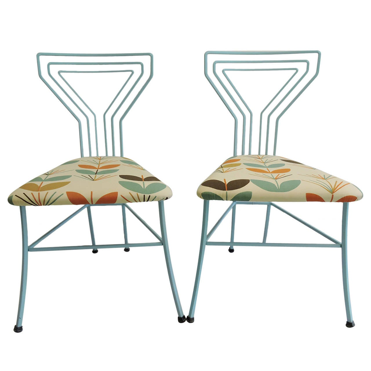 id f wrought iron kitchen chairs Pair of Modern Upholstered Seat Martini Glass Wrought Iron Kitchen Chairs 1