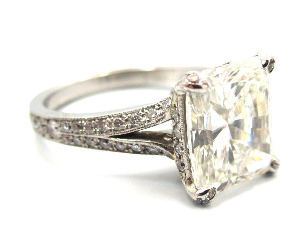 id j neil lane wedding bands Neil Lane Custom Made 3 01 Carat Radiant Cut Diamond Platinum Engagement Ring 2