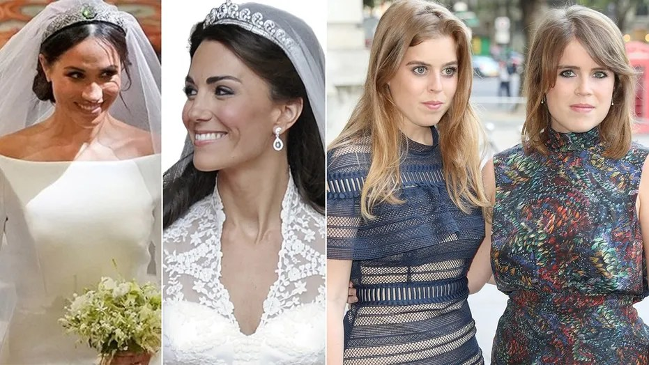 Why Meghan Markle and Kate Middleton can wear tiaras  but Eugenie     Meghan Markle and Kate Middleton wore tiaras to their weddings    but  Princesses Beatrice and