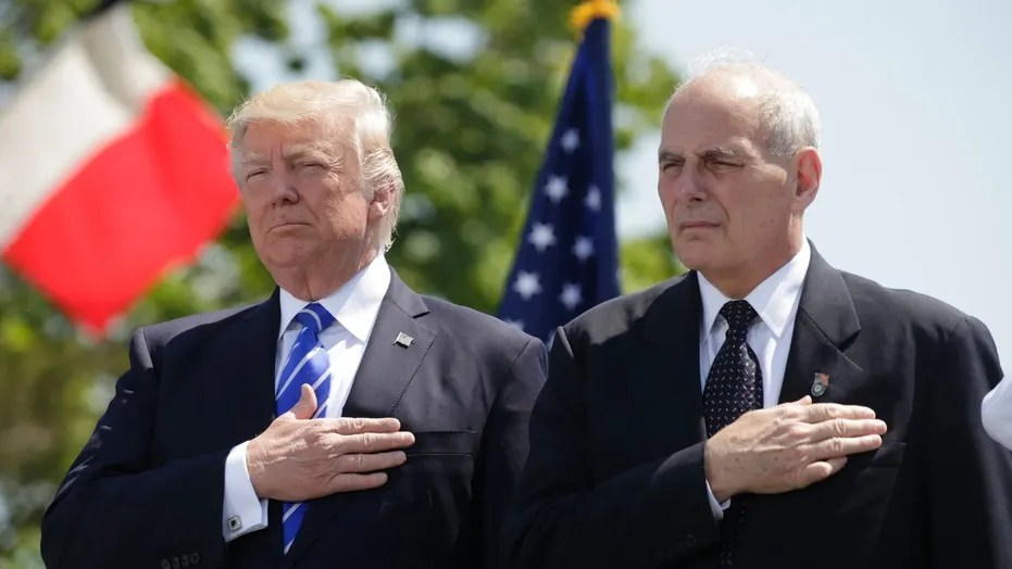 John Kelly fights report he called Trump an  idiot   says story is     President Trump and John Kelly  then Homeland Security Secretary  attend  commencement ceremonies at the