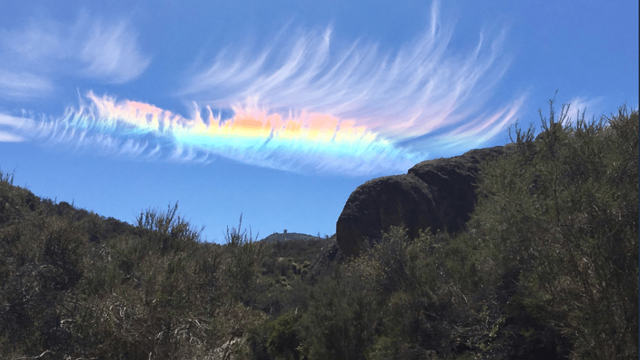 Fire rainbow  spotted over Pinnacles National Park in California     A runner recently spotted a so called  fire rainbow  over Pinnacles  National Park