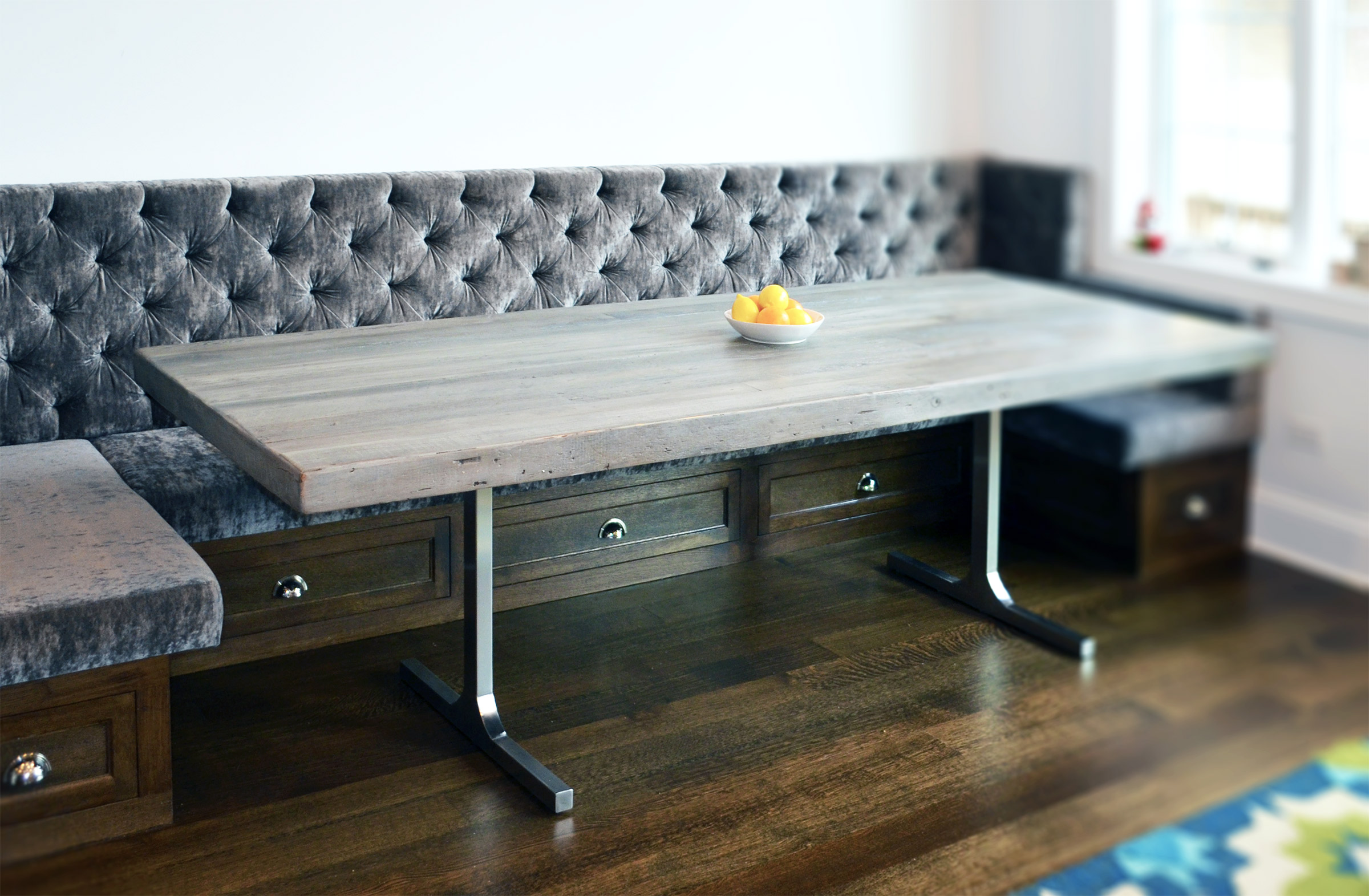 reclaimed wood rustic modern dining table grey wood kitchen table R Jtbl1WV