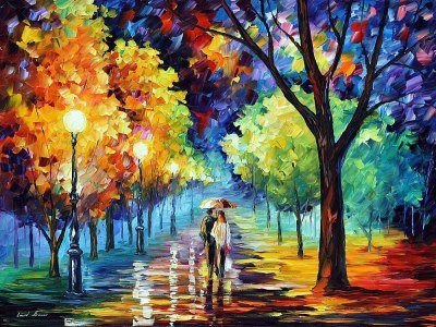 NIGHT ALLEY — PALETTE KNIFE Oil Painting On Canvas By Leonid Afremov - Size 40