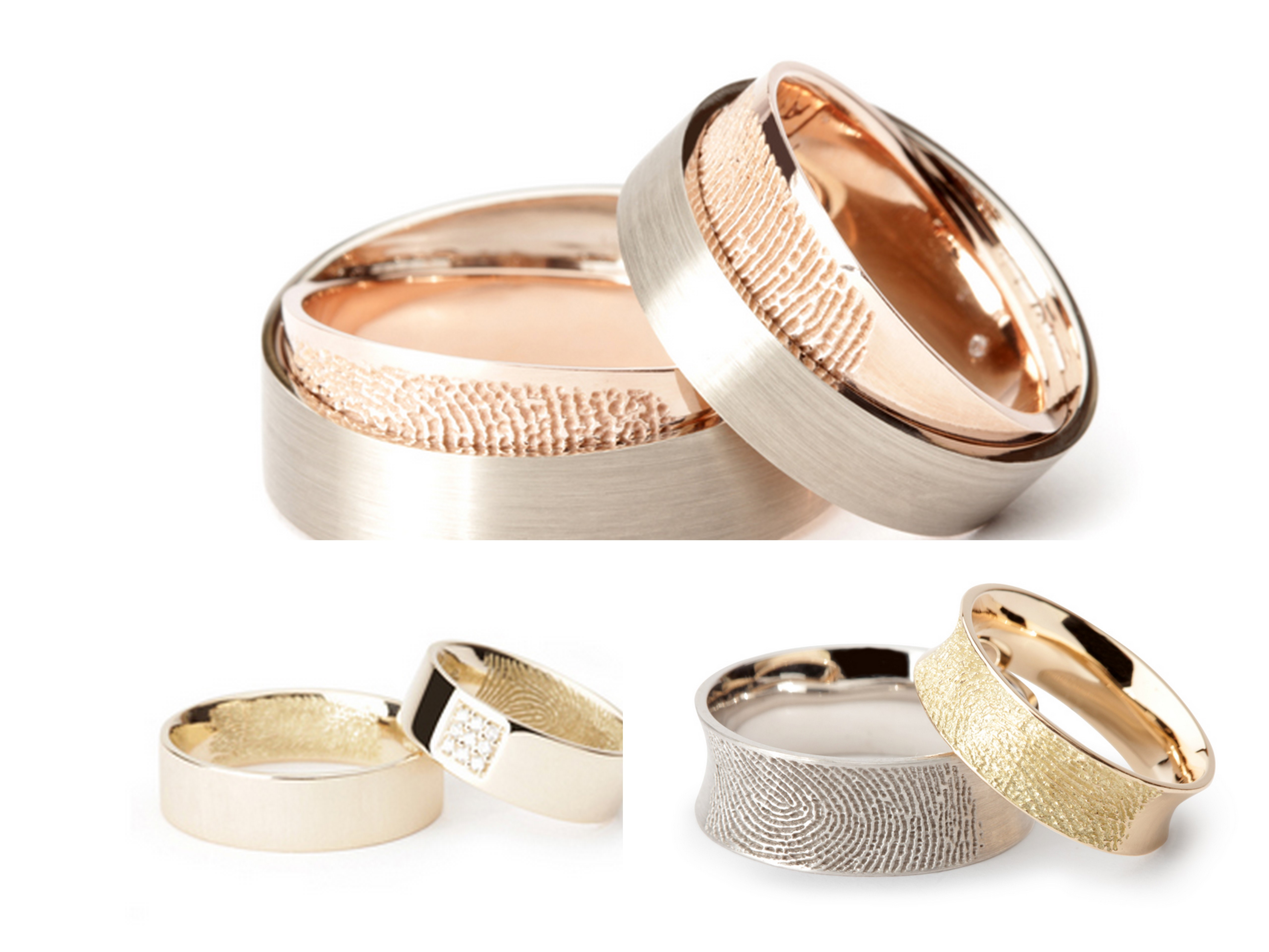 the rings please puzzle wedding rings The ring at the top the rose gold section slides out so the fingerprint is like a secret