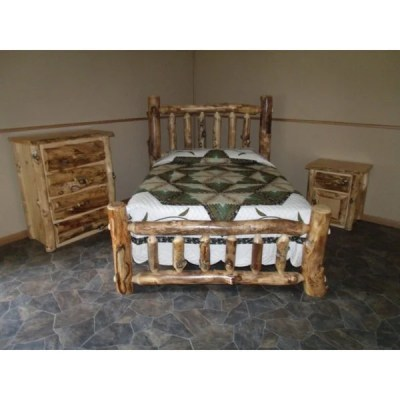 Shop Rustic Aspen Log Complete BEDROOM SET: Includes Bed, 4 Drawer Dresser & Nightstand - Free ...