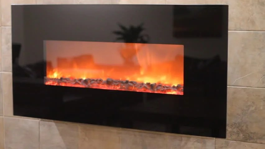 Electric Fireplace With A Burning Coals And Red-orange Background Stock Footage Video 2973691 ...