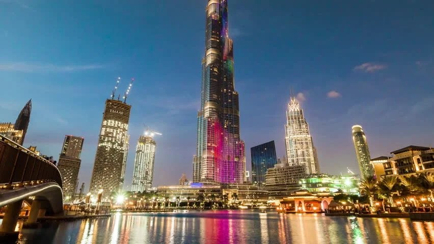 Night Dubai Downtown Water Reflection Panorama 4k Time Lapse Uae Stock Footage Video 11555501 ...