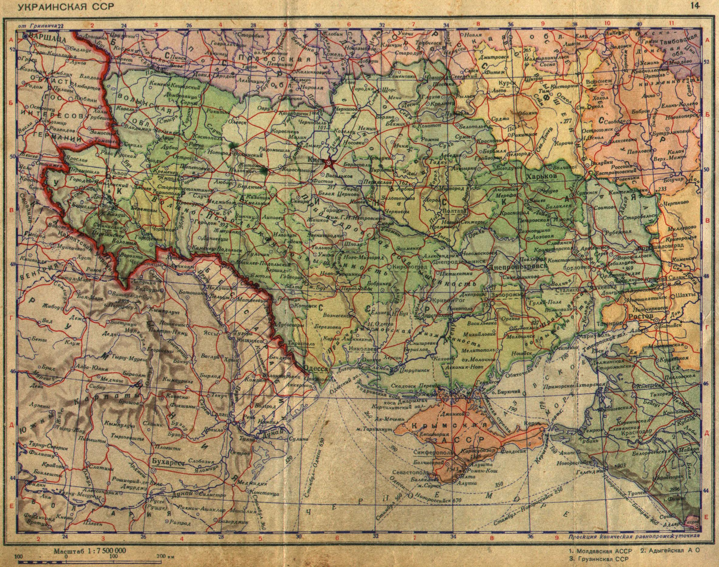 Historical Maps of Ukraine     Ukrainian SSR at the Beginning of 1940