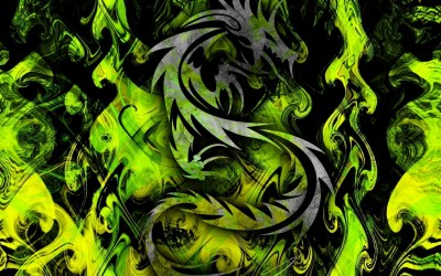 High Resolution Desktop Pictures with Cool Green Tribal Dragon | HD Wallpapers for Free