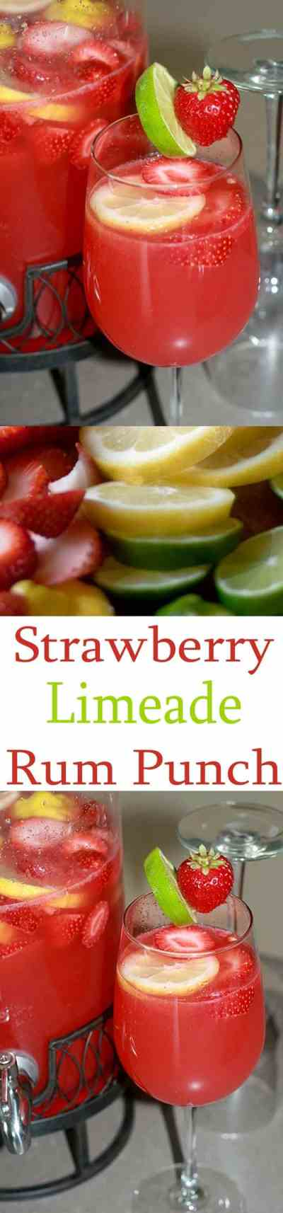 Strawberry Limeade Rum Punch Recipe- All She Cooks