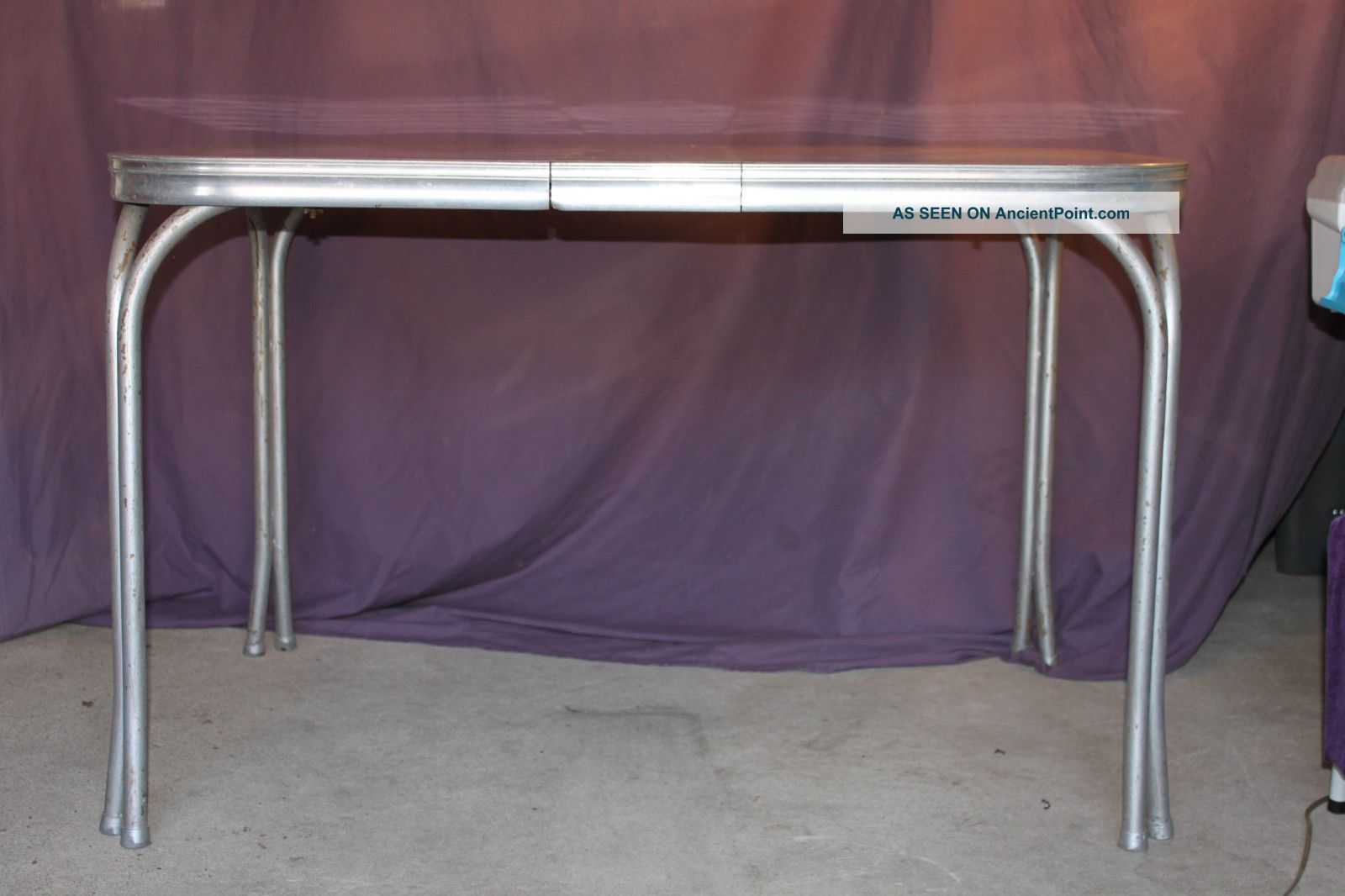 vintage retro 1950  s mid   century diner kitchen table formica silver metal chrome 3 lgw