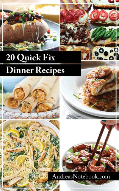 20 Quick Fix Dinners - Andrea's Notebook