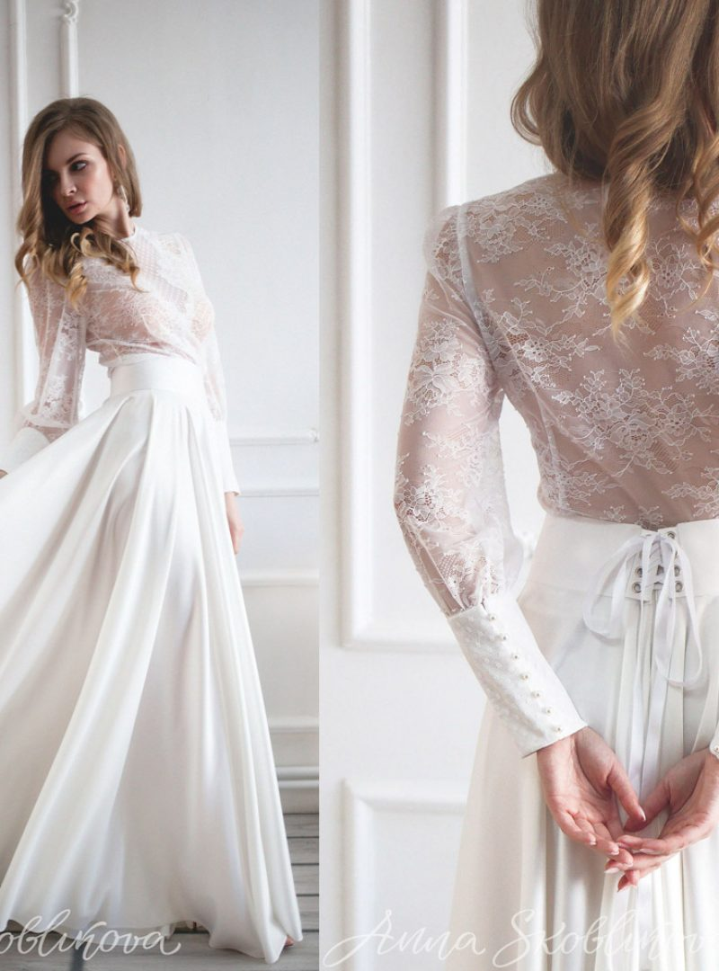 wedding set lace blouse luxurious skirt sleeve pearl buttons decollete lace edge two piece wedding dress