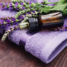 Essential oil placed in a towel