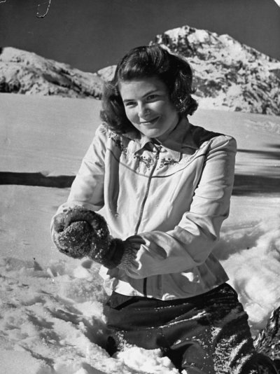 Actress Ingrid Bergman plays in the snow, LIFE magazine ...