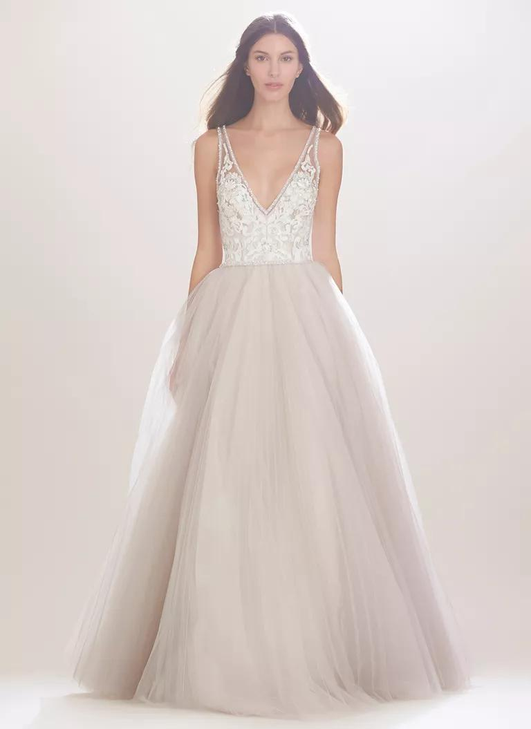 carolina herrera wedding dresses bridal fashion week fall plunging neckline wedding dress Carolina Herrera Fall wedding dress with embroidered bodice and plunging neckline