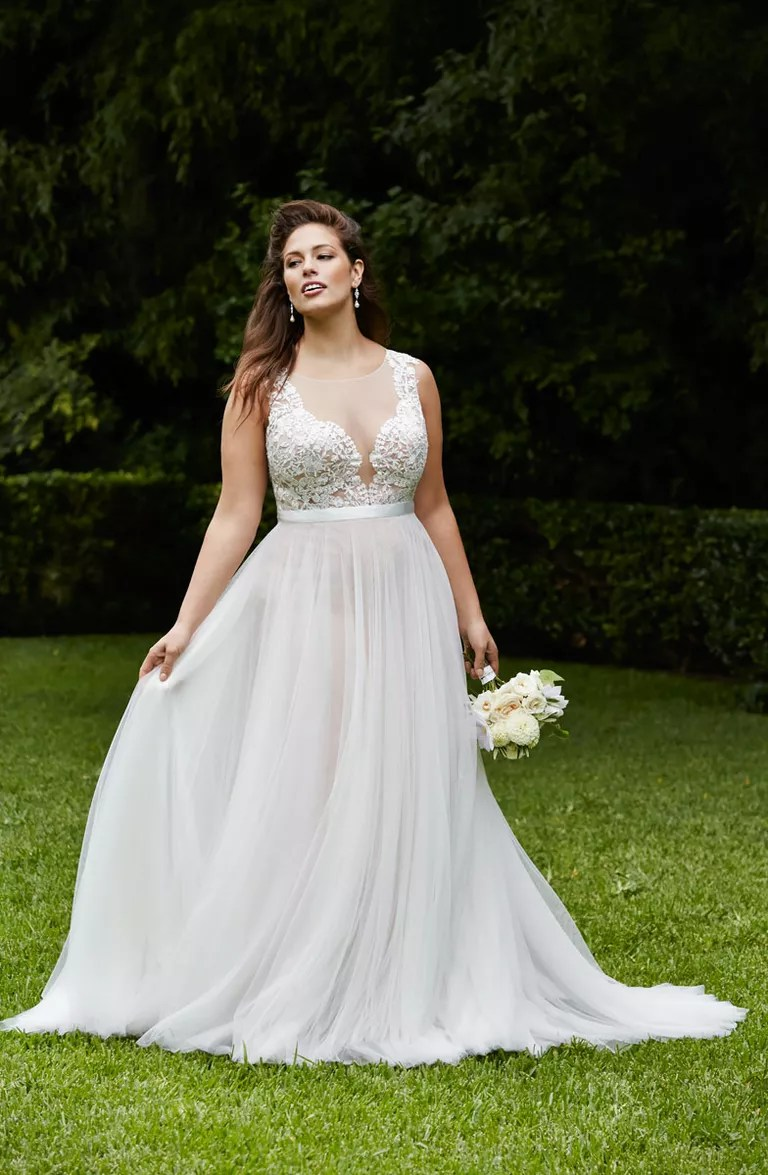 light flowy beach wedding dresses beachy wedding dresses Wtoo Curves Plus Size Beach Wedding Dress With Illusion Neckline And Flowy Skirt