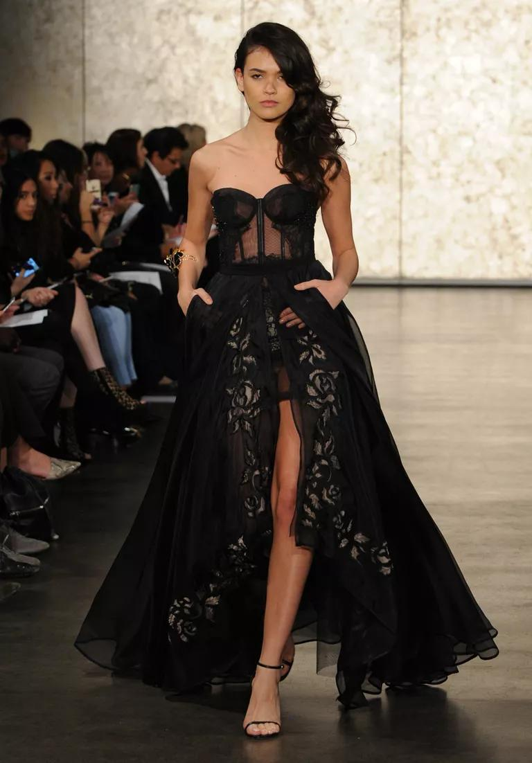 inbal dror wedding dresses bridal fashion week fall black lace wedding dress Inbal Dror Fall black tulle and lace strapless wedding dress with corset