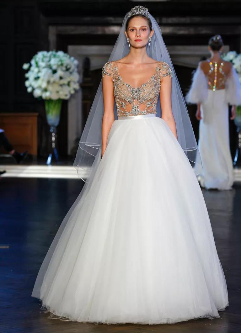 alon livne wedding dresses bridal fashion week fall jeweled wedding dress Alon Livne Fall jeweled illusion bodice and tulle skirt wedding dress
