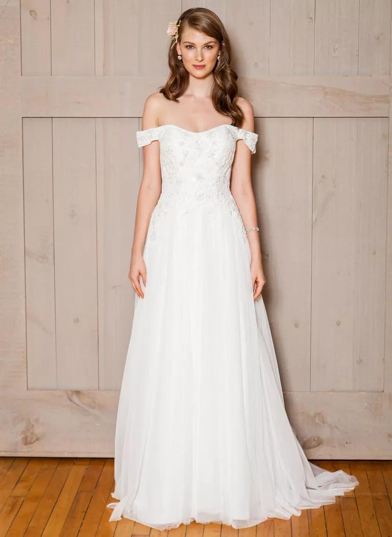 davids bridal wedding dresses bridal fashion week fall wedding gowns David s Bridal Fall off the shoulder wedding dress with beaded bodice