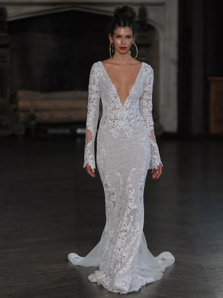 berta wedding dresses bridal fashion week fall plunging neckline wedding dress Berta lace sheath wedding gown with plunging neckline and long sleeve details for Fall