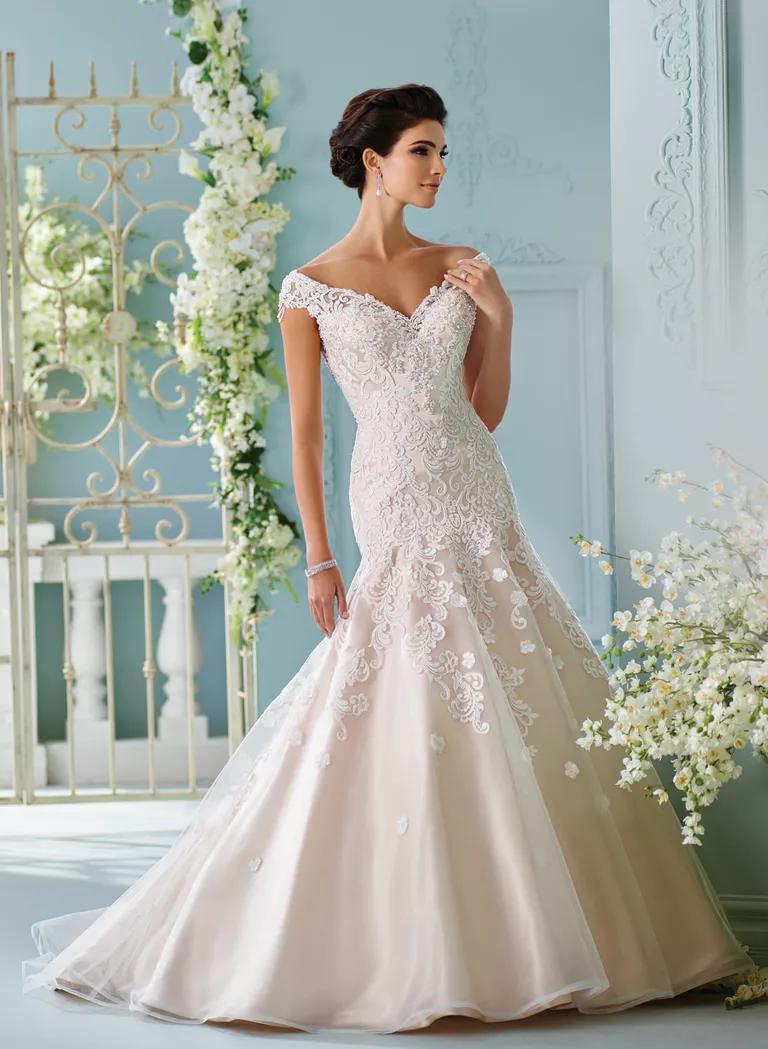 david tutera wedding dresses bridal fashion week spring straight wedding dresses David Tutera Spring sleeveless blush mermaid wedding dress with ivory lace embroidery