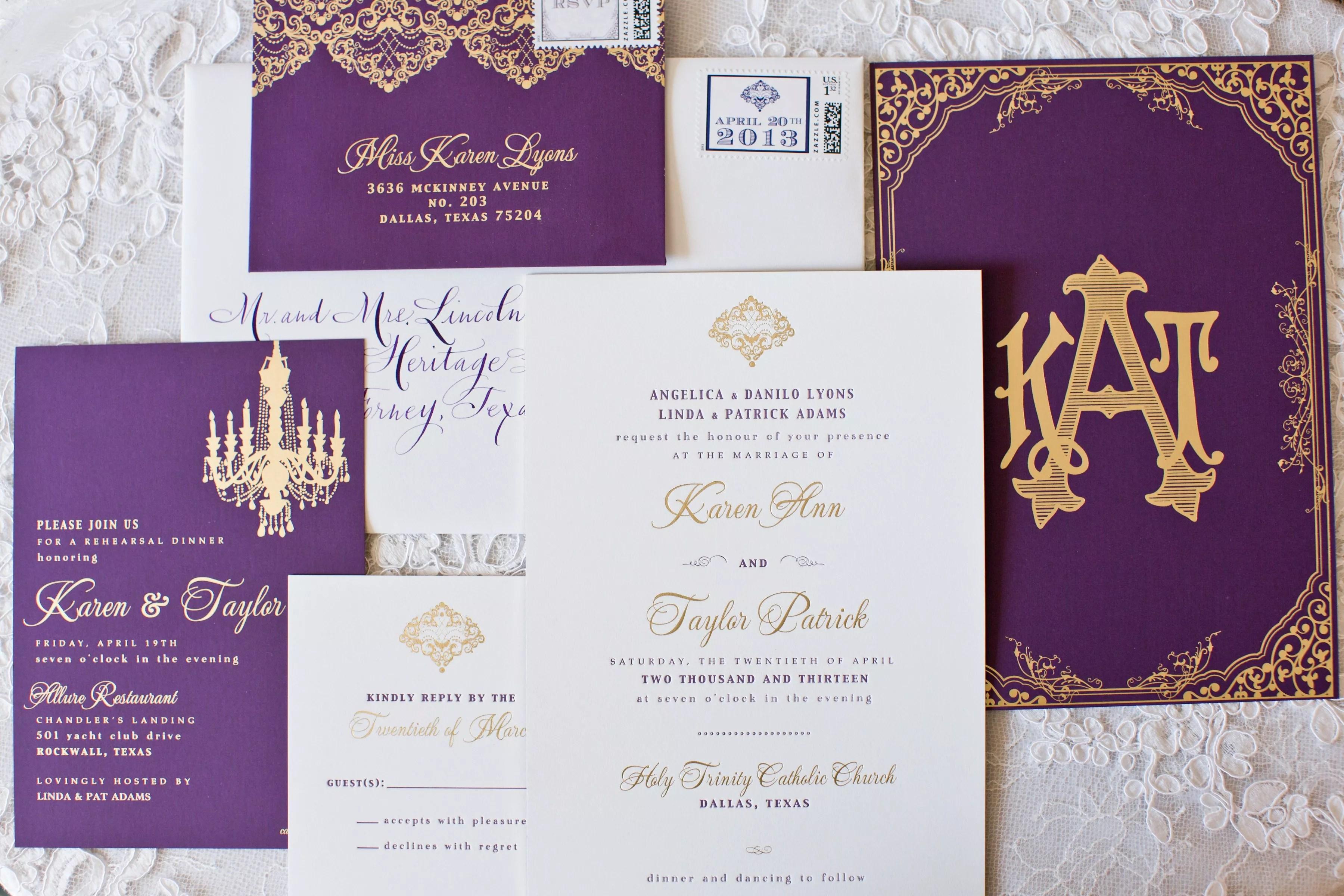 chic purple and gold wedding invitation photo purple and gold wedding