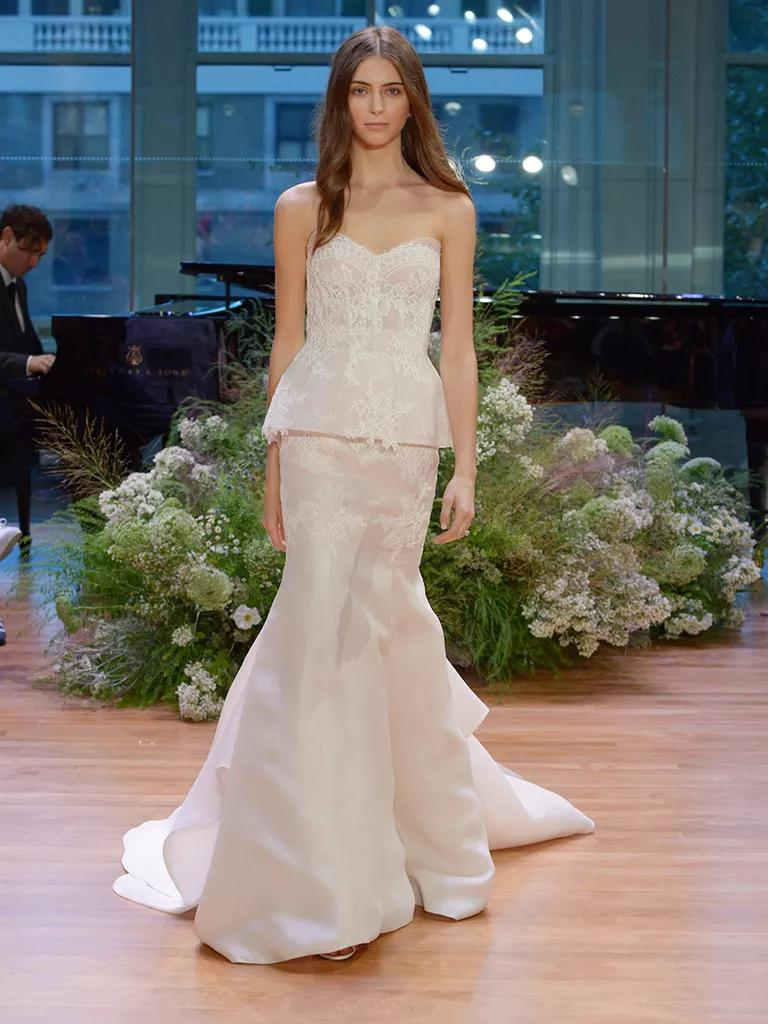 peplum wedding dress peplum wedding dress Monique Lhuillier Fall Collection Bridal Fashion Week Pos