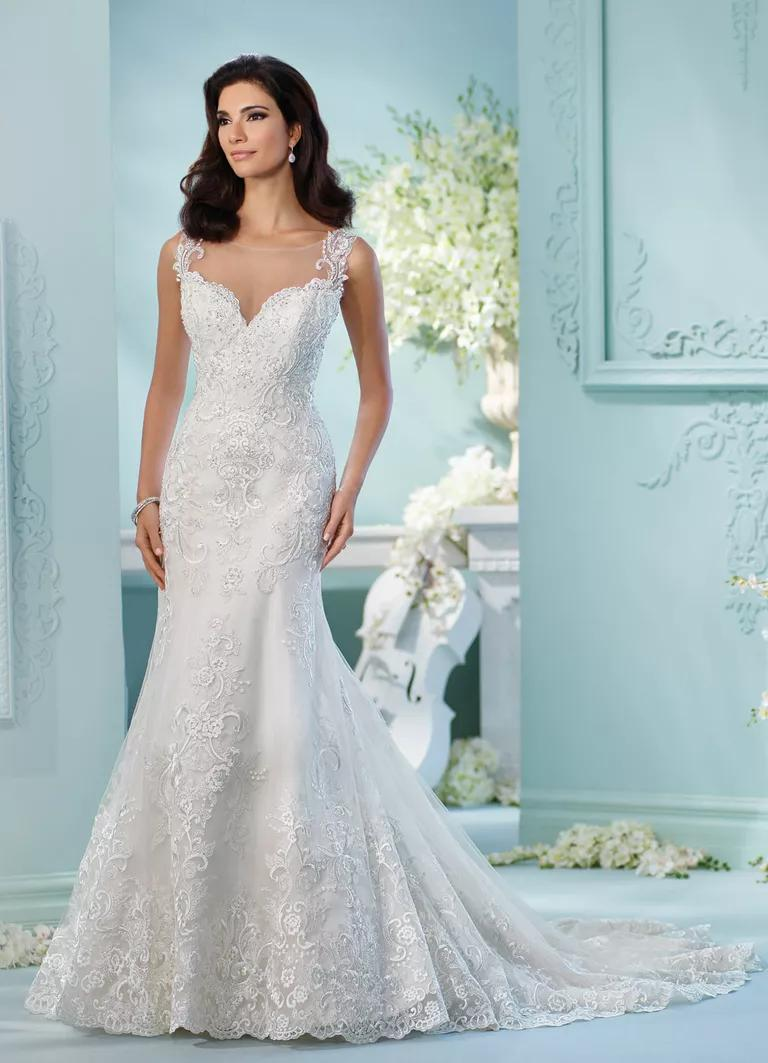 david tutera wedding dresses bridal fashion week spring straight wedding dresses David Tutera Spring fit and flare wedding dress with floral embroidery and sleeveless