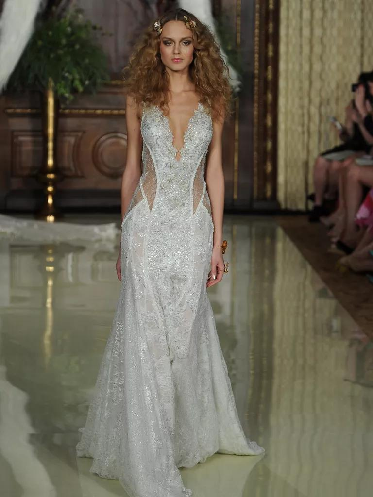 galia lahav wedding dresses bridal fashion week spring galia lahav wedding dresses Galia Lahav embroidered lace sheer waistband wedding dress from Spring