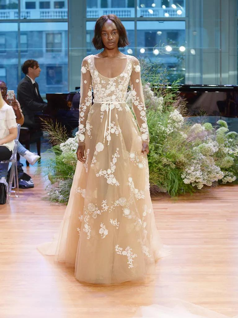 colored wedding dresses colorful wedding dress Monique Lhuillier Fall Collection Bridal Fashion Week Pos