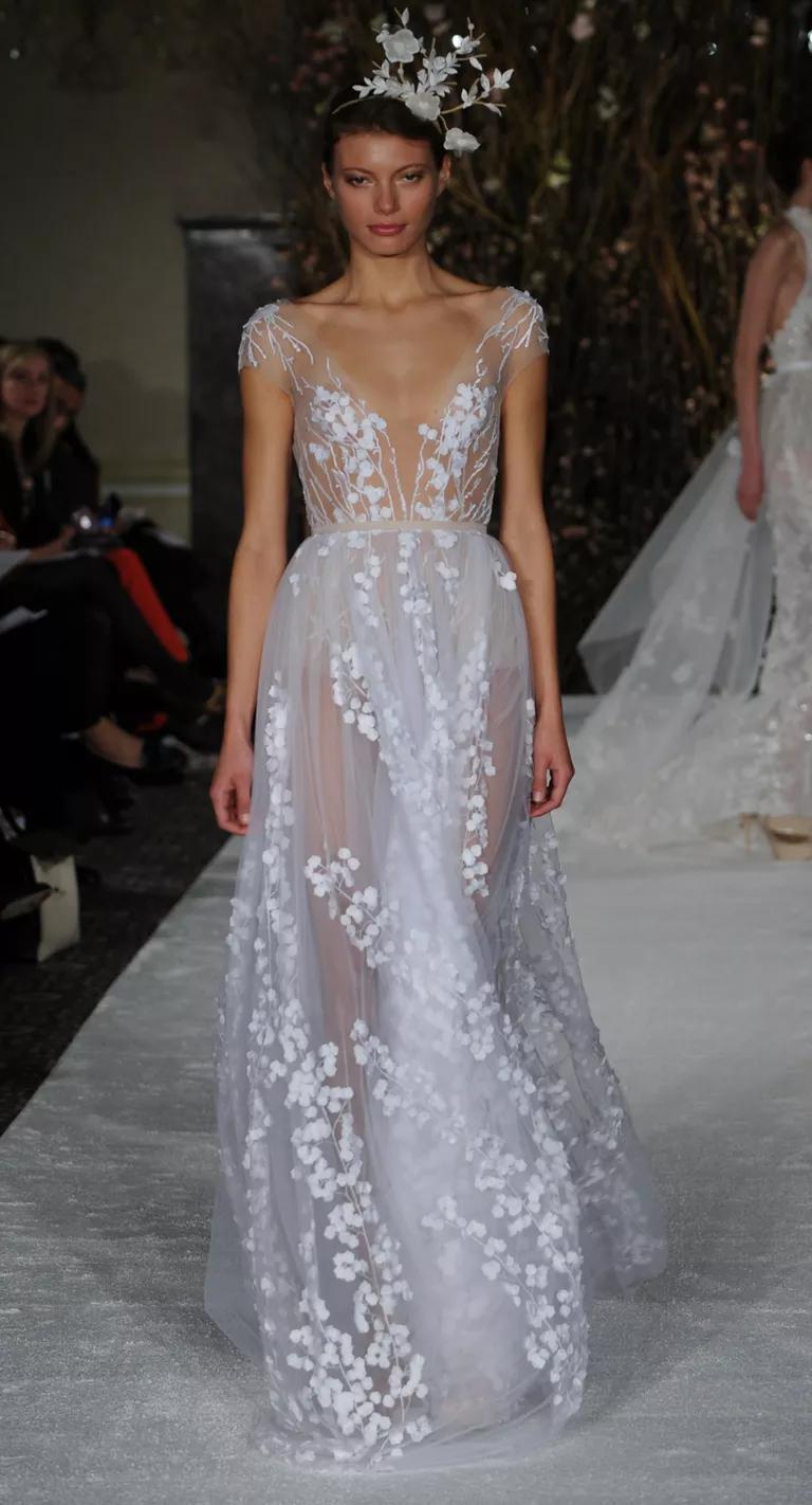 mira zwillinger wedding dresses bridal fashion week spring plunging neckline wedding dress Mira Zwillinger Spring sheer A line wedding dress with plunging neckline and floral appliqu