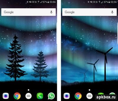 Живые обои Aurora Звёздное Небо: скачать на Андроид   apkbox.ru