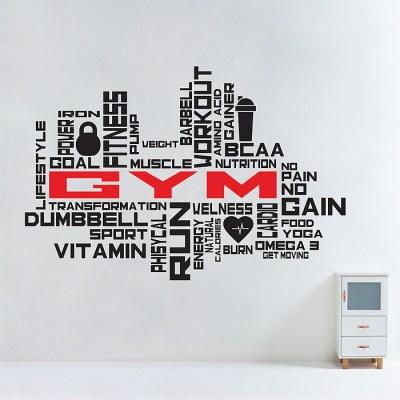 Fitness GYM Word Cloud Vinyl Wall Art Decal