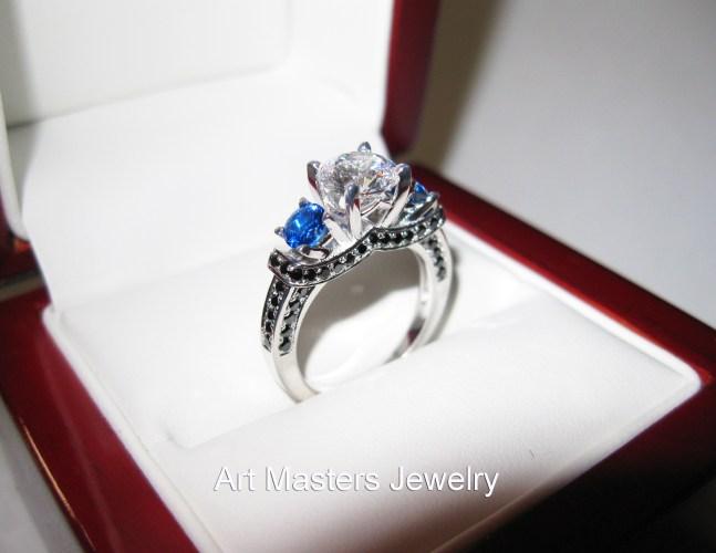 2 blue topaz wedding band French 14K White Gold Three Stone White and Blue Sapphire Black Diamond Wedding Ring Engagement