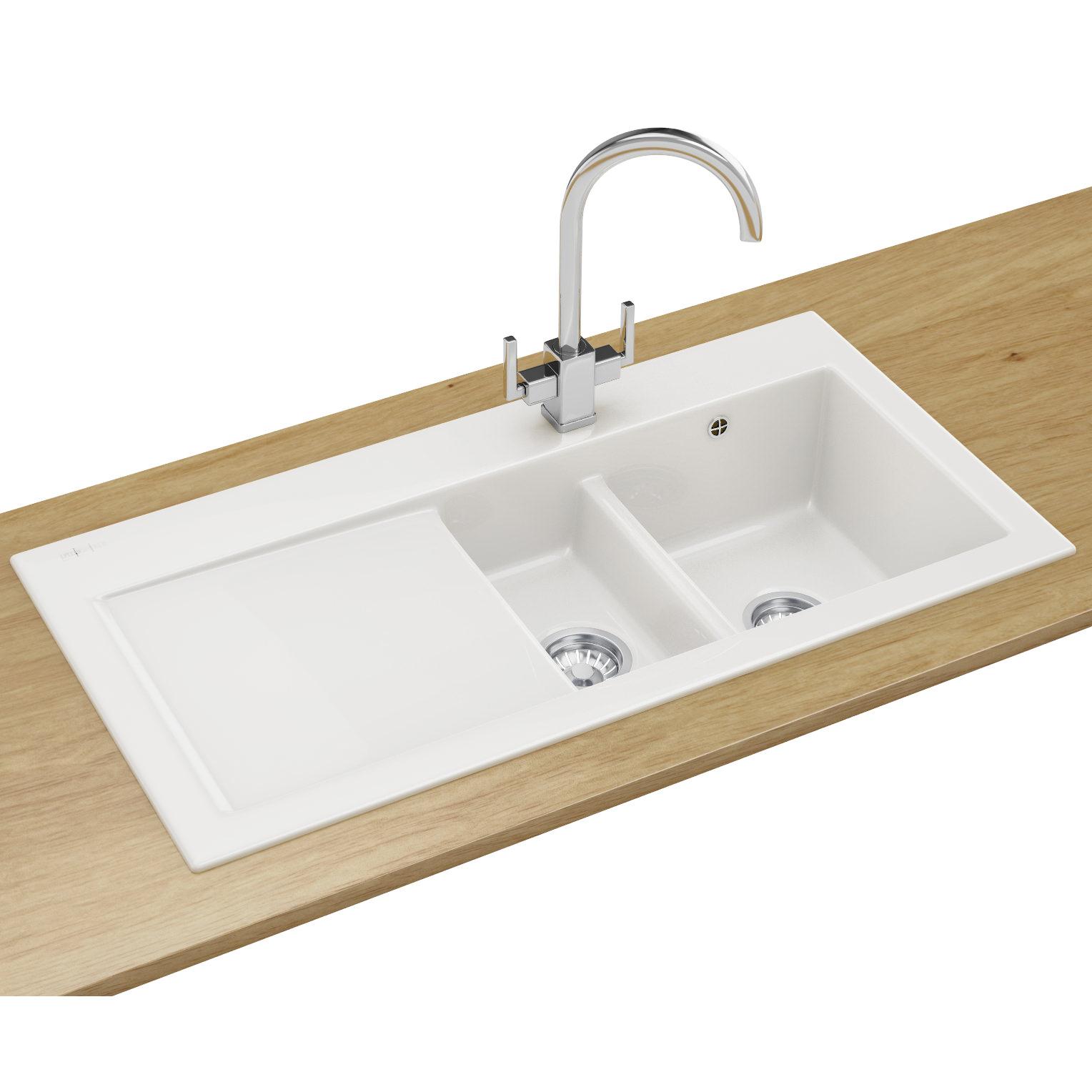 white kitchen sink Franke Mythos Designer Pack MTK Ceramic White Kitchen Sink And Tap