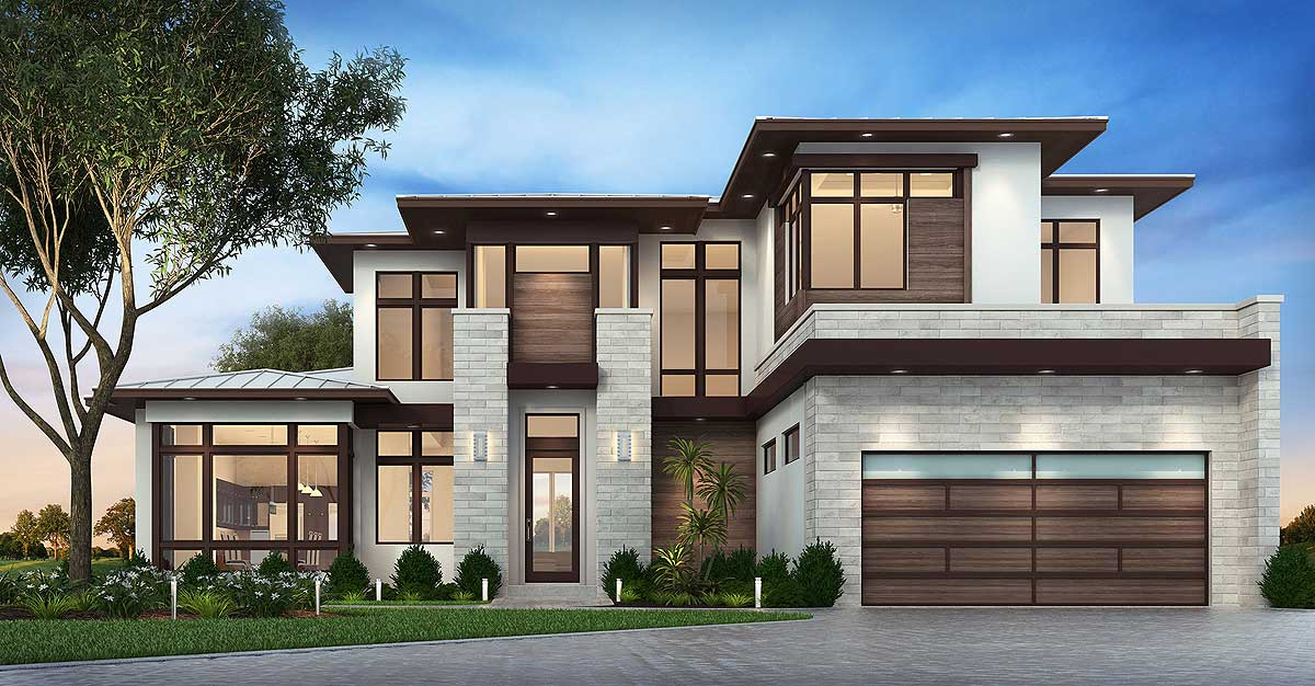 Master Down Modern House Plan with Outdoor Living Room ...