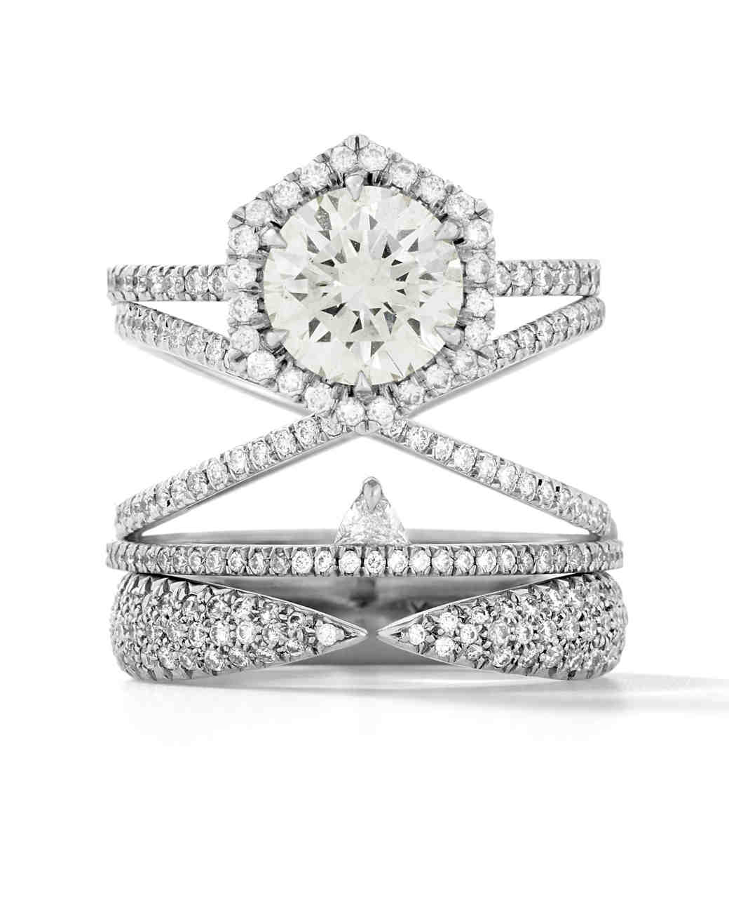 stacked engagement rings stacked wedding rings set