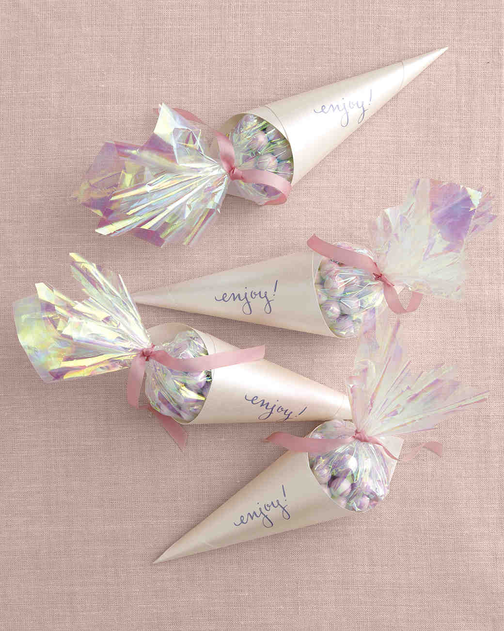 bridal shower favor ideas that you can diy wedding shower favors Opalescent Candy Cones