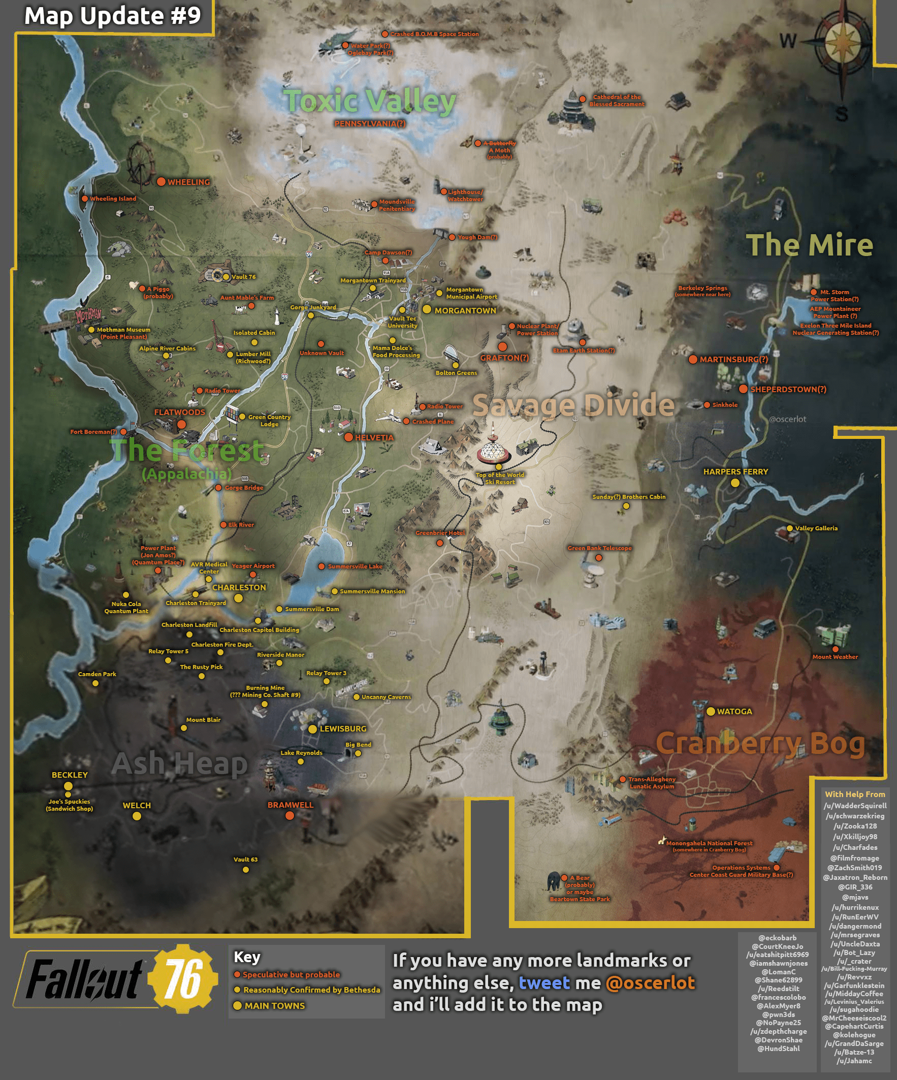 Fallout 76 map  all confirmed and possible locations   VG247 Click the link above that image for a better view  Some of the confirmed  locations include Top of the World Ski Resort  Watoga  Lewisburg  Beckley