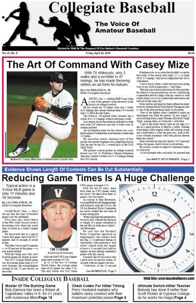 April 20, 2018 Collegiate Baseball - Collegiate Baseball Newspaper