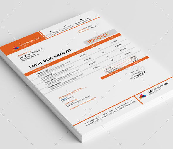 37 Best PSD Invoice Templates For Freelancer   Web   Graphic Design     Clean Invoice With MS Word  Download