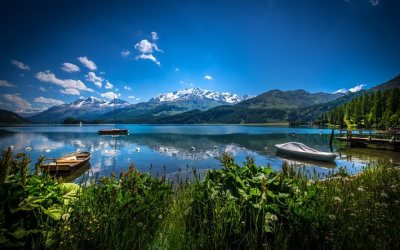 Download wallpapers Alps, Switzerland, lake, mountains, summer, dock for desktop free. Pictures ...