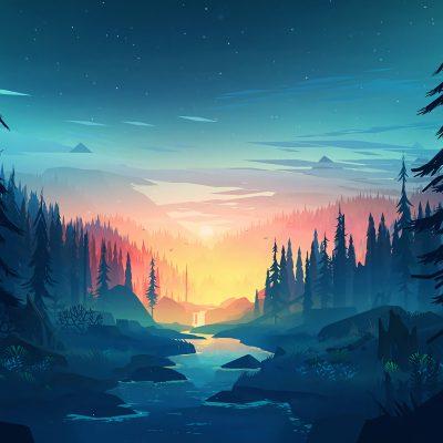 Minimal Minimalist Nature Sunrise River 8K Wallpaper - Best Wallpapers